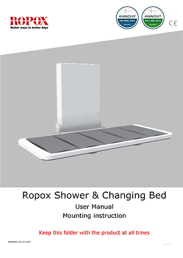 Ropox user & mounting manual - Shower/Changing bed GB