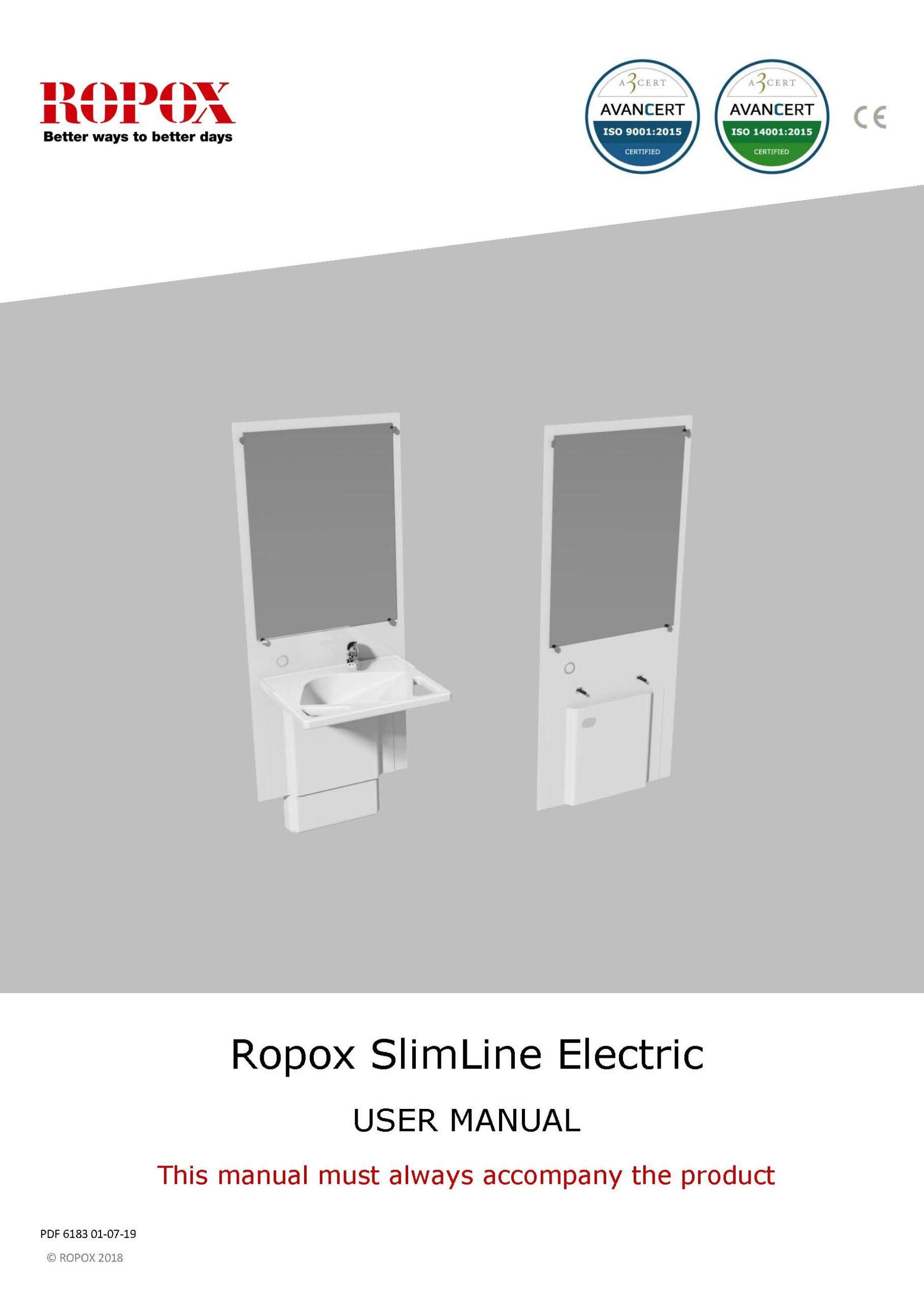Ropox User Manual - SlimLine Washbasin Electric